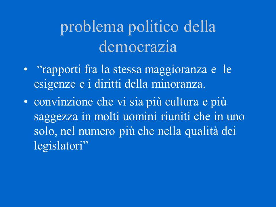 """problema politico della democrazia """"rapporti fra la stessa maggioranza e le esigenze e i diritti della minoranza. convinzione che vi sia più cultura e"""