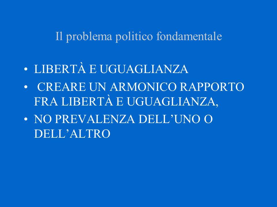 Il problema politico fondamentale LIBERTÀ E UGUAGLIANZA CREARE UN ARMONICO RAPPORTO FRA LIBERTÀ E UGUAGLIANZA, NO PREVALENZA DELL'UNO O DELL'ALTRO