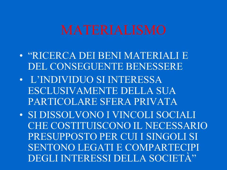 """MATERIALISMO """"RICERCA DEI BENI MATERIALI E DEL CONSEGUENTE BENESSERE L'INDIVIDUO SI INTERESSA ESCLUSIVAMENTE DELLA SUA PARTICOLARE SFERA PRIVATA SI DI"""
