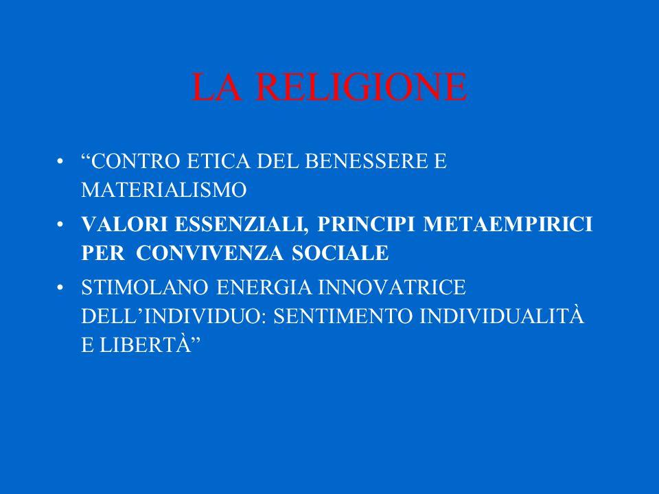 LA RELIGIONE CONTRO ETICA DEL BENESSERE E MATERIALISMO VALORI ESSENZIALI, PRINCIPI METAEMPIRICI PER CONVIVENZA SOCIALE STIMOLANO ENERGIA INNOVATRICE DELL'INDIVIDUO: SENTIMENTO INDIVIDUALITÀ E LIBERTÀ