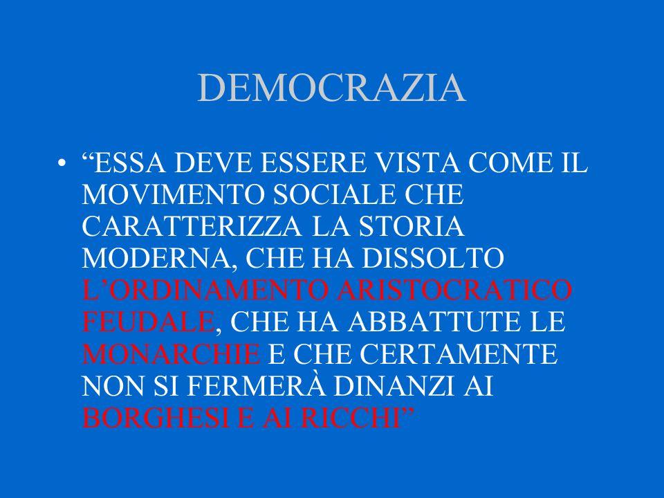 """DEMOCRAZIA """"ESSA DEVE ESSERE VISTA COME IL MOVIMENTO SOCIALE CHE CARATTERIZZA LA STORIA MODERNA, CHE HA DISSOLTO L'ORDINAMENTO ARISTOCRATICO FEUDALE,"""