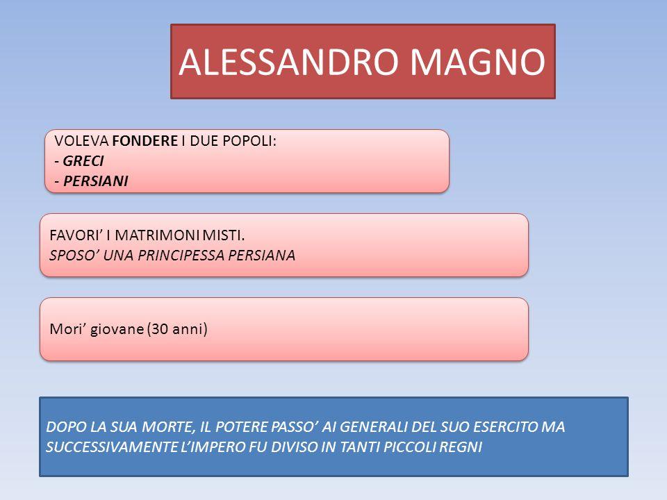 ALESSANDRO MAGNO VOLEVA FONDERE I DUE POPOLI: - GRECI - PERSIANI VOLEVA FONDERE I DUE POPOLI: - GRECI - PERSIANI FAVORI' I MATRIMONI MISTI. SPOSO' UNA