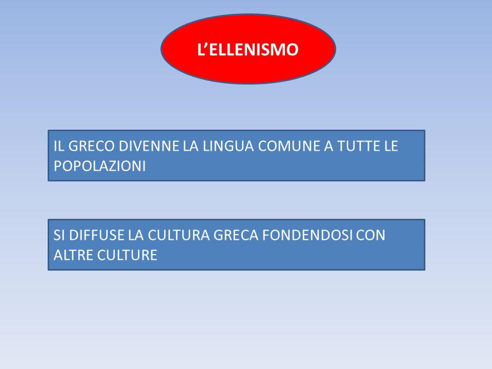 IL GRECO DIVENNE LA LINGUA COMUNE A TUTTE LE POPOLAZIONI SI DIFFUSE LA CULTURA GRECA FONDENDOSI CON ALTRE CULTURE L'ELLENISMO