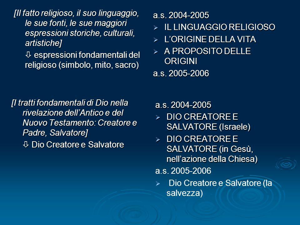 [Il fatto religioso, il suo linguaggio, le sue fonti, le sue maggiori espressioni storiche, culturali, artistiche]  espressioni fondamentali del religioso (simbolo, mito, sacro) a.s.