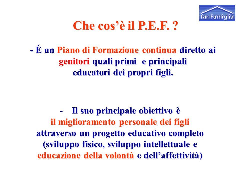 - È un Piano di Formazione continua diretto ai genitori quali primi e principali educatori dei propri figli.