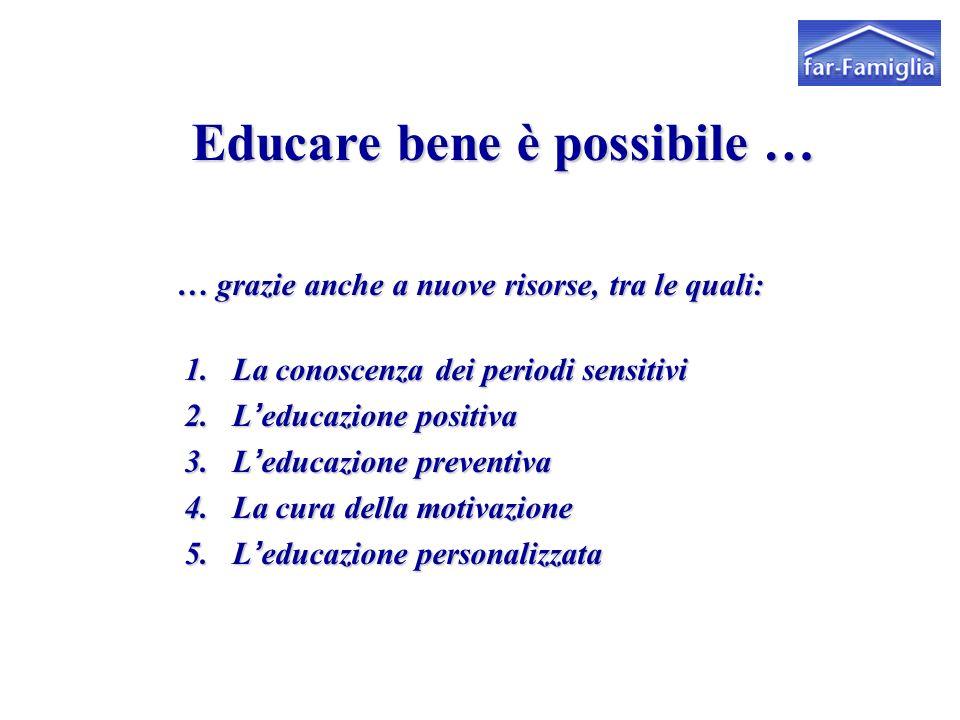 Educare bene è possibile … … grazie anche a nuove risorse, tra le quali: … grazie anche a nuove risorse, tra le quali: 1. La conoscenza dei periodi se