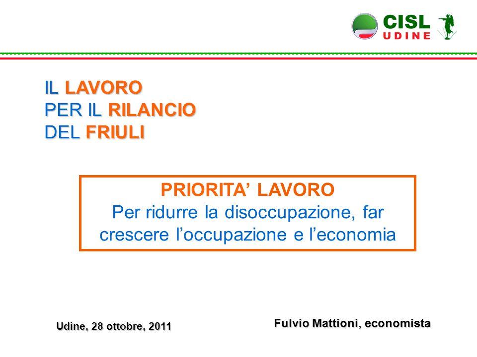 Fulvio Mattioni, economista IL LAVORO PER IL RILANCIO DEL FRIULI PRIORITA' LAVORO Per ridurre la disoccupazione, far crescere l'occupazione e l'econom