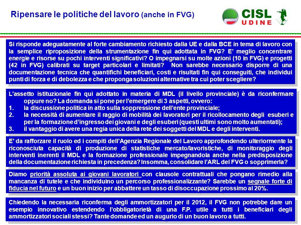 Ripensare le politiche del lavoro (anche in FVG) Si risponde adeguatamente al forte cambiamento richiesto dalla UE e dalla BCE in tema di lavoro con la semplice riproposizione della strumentazione fin qui adottata in FVG.