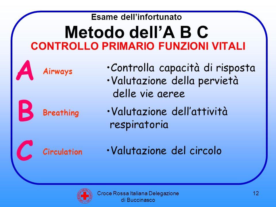 Croce Rossa Italiana Delegazione di Buccinasco 12 Esame dell'infortunato Metodo dell'A B C CONTROLLO PRIMARIO FUNZIONI VITALI C O N V E N Z I O N E D I G I N E V R A 2 2 A G O S T O 1 8 6 4 A Controlla capacità di risposta Valutazione della pervietà delle vie aeree B C Valutazione dell'attività respiratoria Valutazione del circolo Airways Breathing Circulation