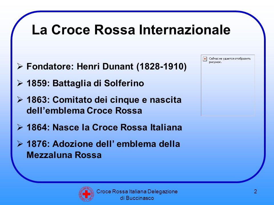 Croce Rossa Italiana Delegazione di Buccinasco 3 Convenzioni di Ginevra  1^ (1864): condizioni dei militari feriti in campo di battaglia  2^ (1907): estensione della convenzione ai feriti in battaglie di mare  3^ (1929): estensione ai prigionieri di guerra  4^ (1949): estensione alle persone civili C O N V E N Z I O N E D I G I N E V R A 2 2 A G O S T O 1 8 6 4 Protocolli Aggiuntivi (1977): Estensione campo applicazione convenzioni e protezione vittime conflitti NON internazionali