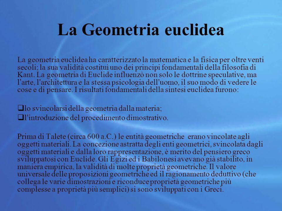 La Geometria euclidea La geometria euclidea ha caratterizzato la matematica e la fisica per oltre venti secoli; la sua validità costituì uno dei principi fondamentali della filosofia di Kant.