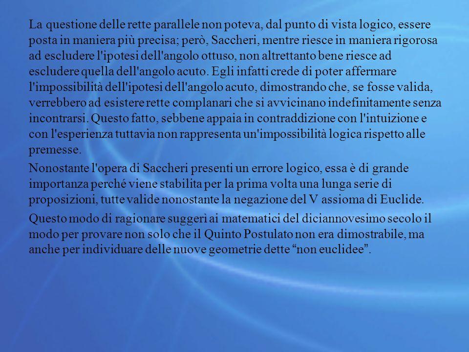 La questione delle rette parallele non poteva, dal punto di vista logico, essere posta in maniera più precisa; però, Saccheri, mentre riesce in maniera rigorosa ad escludere l ipotesi dell angolo ottuso, non altrettanto bene riesce ad escludere quella dell angolo acuto.