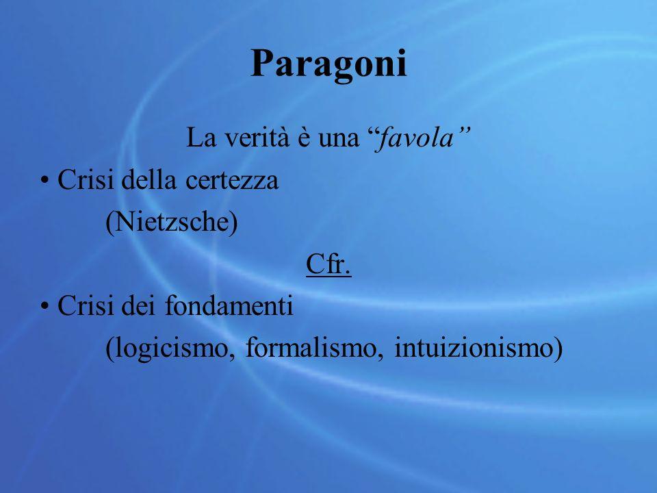 """Paragoni La verità è una """"favola"""" Crisi della certezza (Nietzsche) Cfr. Crisi dei fondamenti (logicismo, formalismo, intuizionismo)"""