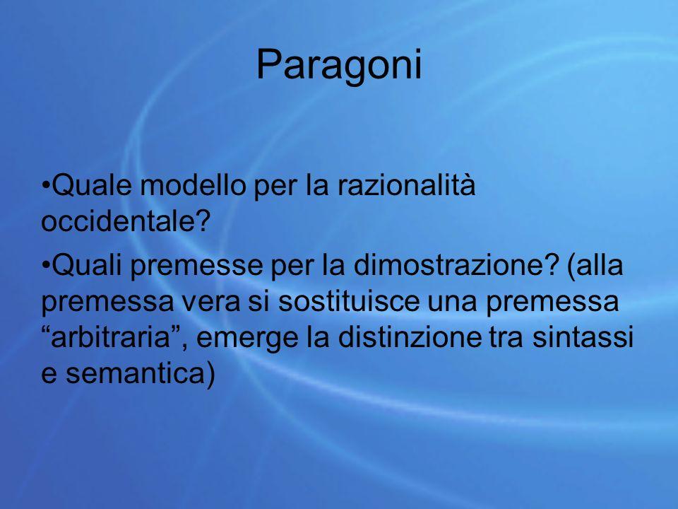 Paragoni Quale modello per la razionalità occidentale.
