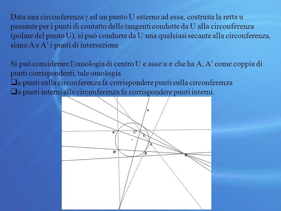 Data una circonferenza  ed un punto U esterno ad essa, costruita la retta u passante per i punti di contatto delle tangenti condotte da U alla circonferenza (polare del punto U), si può condurre da U una qualsiasi secante alla circonferenza, siano A e A' i punti di intersezione Si può considerare l'omologia di centro U e asse u e che ha A, A' come coppia di punti corrispondenti, tale omologia  a punti sulla circonferenza fa corrispondere punti sulla circonferenza  a punti interni alla circonferenza fa corrispondere punti interni.