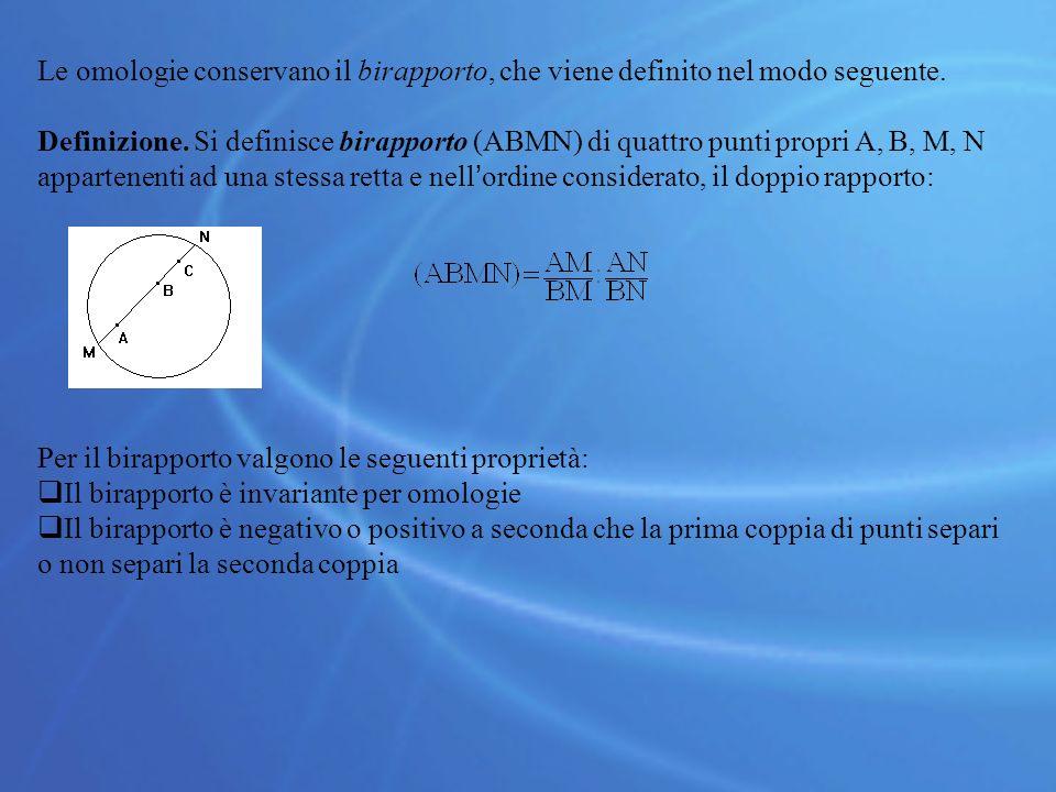 Le omologie conservano il birapporto, che viene definito nel modo seguente. Definizione. Si definisce birapporto (ABMN) di quattro punti propri A, B,