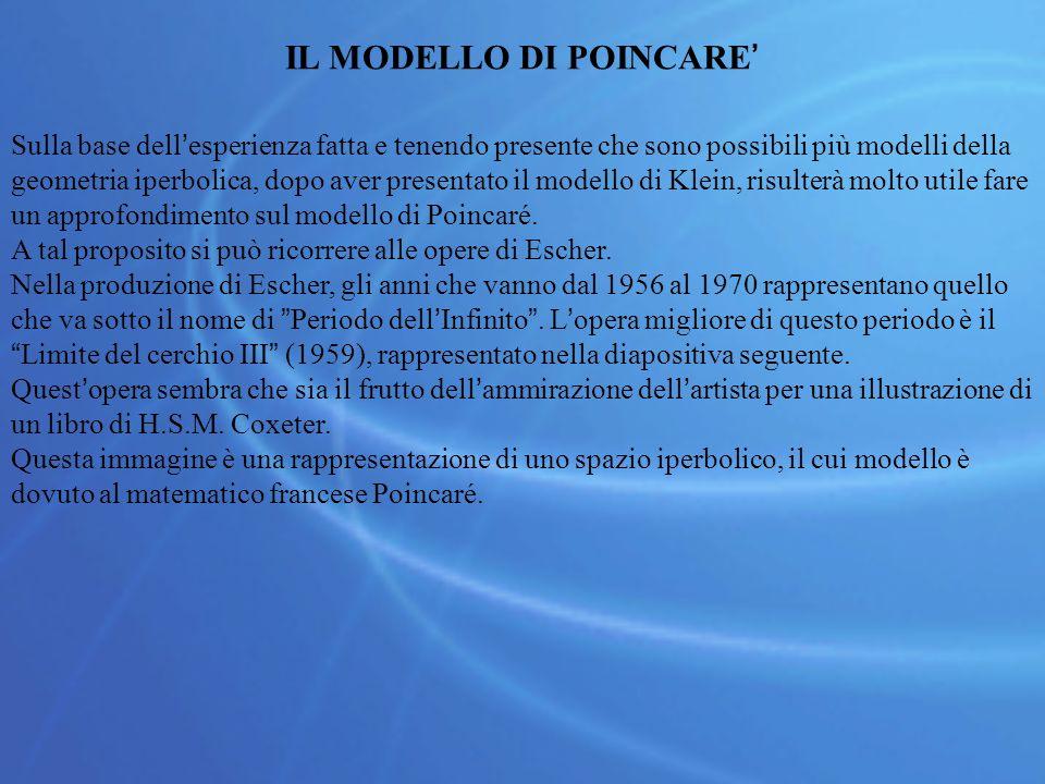 IL MODELLO DI POINCARE' Sulla base dell'esperienza fatta e tenendo presente che sono possibili più modelli della geometria iperbolica, dopo aver presentato il modello di Klein, risulterà molto utile fare un approfondimento sul modello di Poincaré.