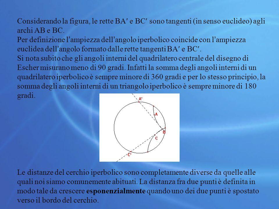 Considerando la figura, le rette BA e BC sono tangenti (in senso euclideo) agli archi AB e BC.