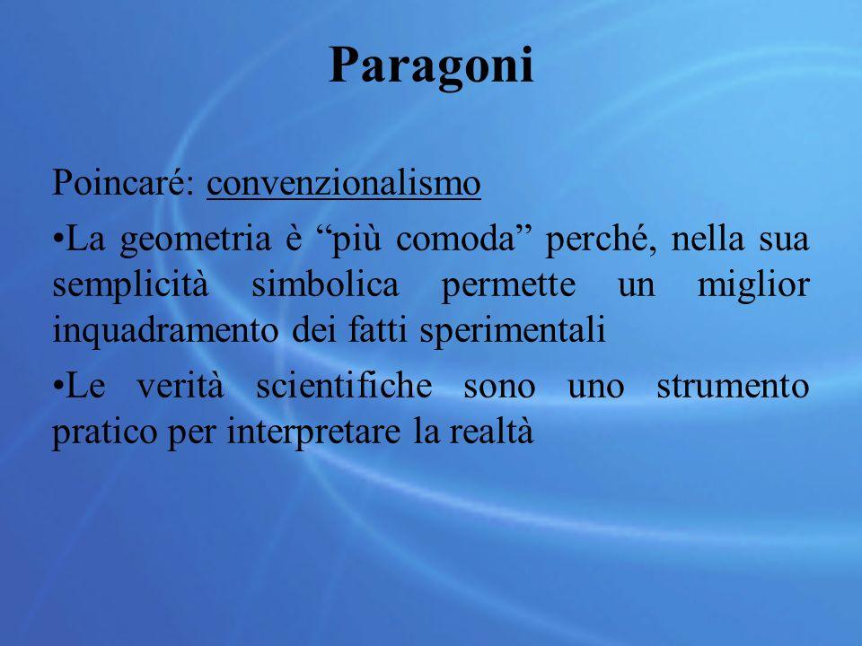 Paragoni Poincaré: convenzionalismo La geometria è più comoda perché, nella sua semplicità simbolica permette un miglior inquadramento dei fatti sperimentali Le verità scientifiche sono uno strumento pratico per interpretare la realtà