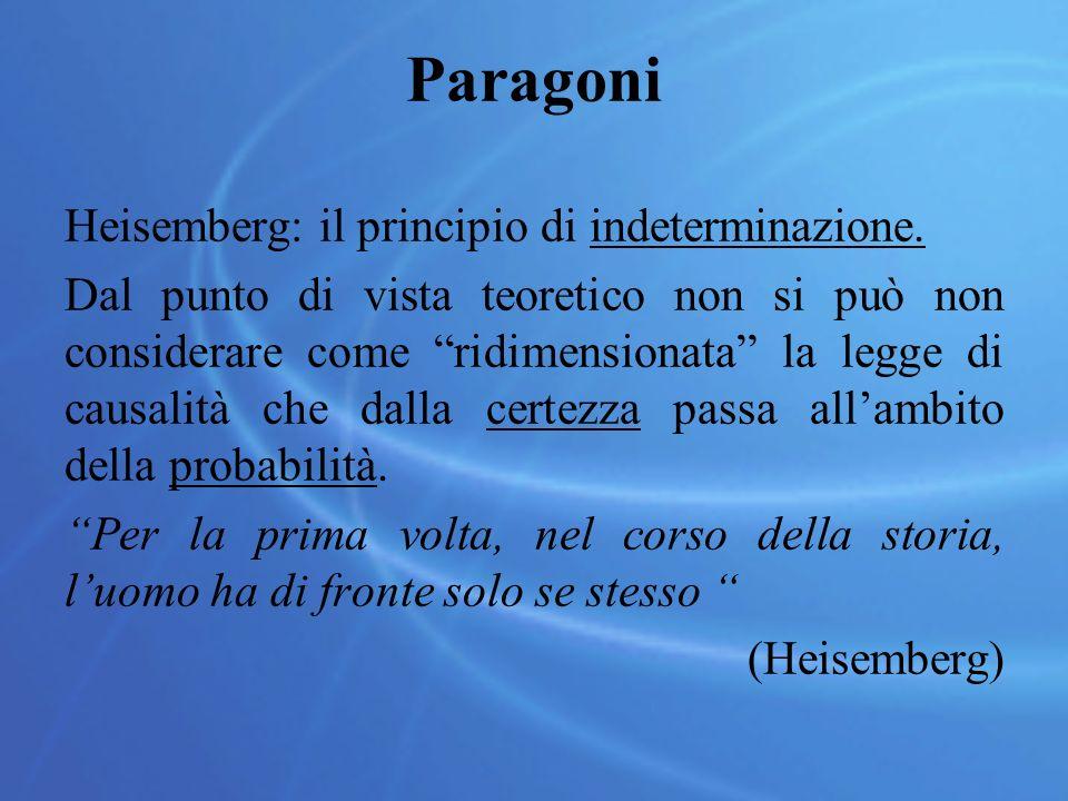 """Paragoni Heisemberg: il principio di indeterminazione. Dal punto di vista teoretico non si può non considerare come """"ridimensionata"""" la legge di causa"""