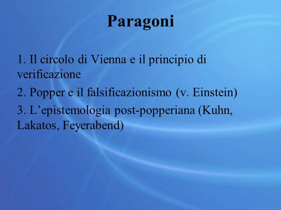 Paragoni 1. Il circolo di Vienna e il principio di verificazione 2. Popper e il falsificazionismo (v. Einstein) 3. L'epistemologia post-popperiana (Ku