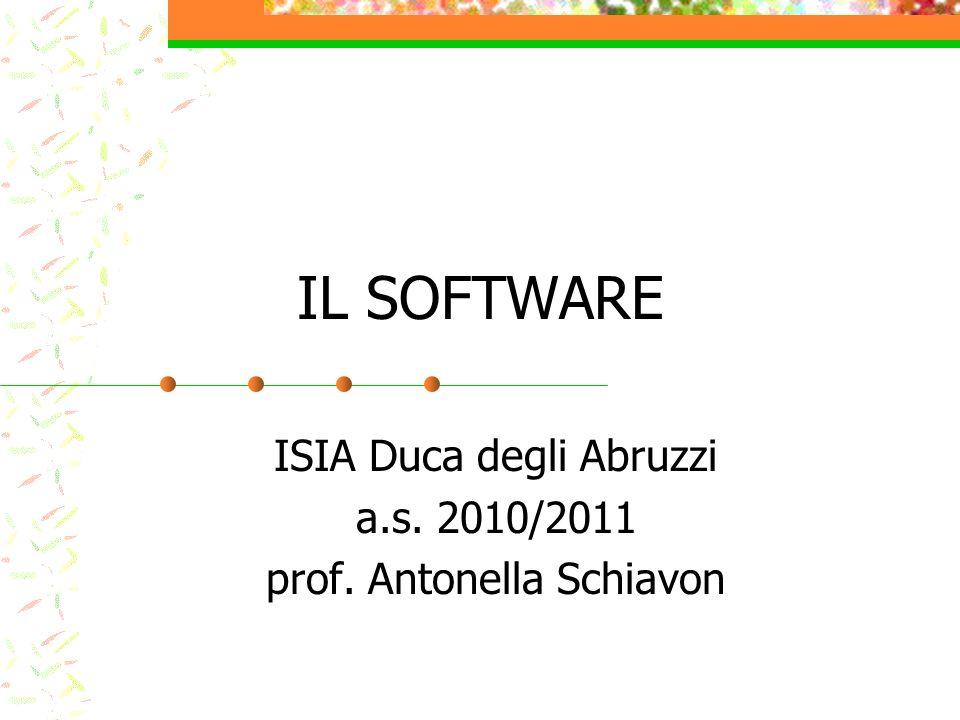 IL SOFTWARE ISIA Duca degli Abruzzi a.s. 2010/2011 prof. Antonella Schiavon