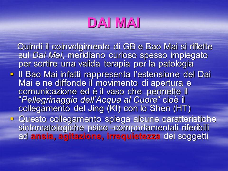 DAI MAI Quindi il coinvolgimento di GB e Bao Mai si riflette sul Dai Mai, meridiano curioso spesso impiegato per sortire una valida terapia per la pat