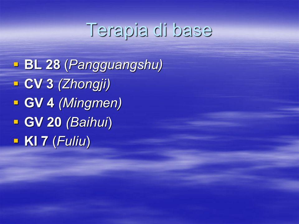 Terapia di base  BL 28 (Pangguangshu)  CV 3 (Zhongji)  GV 4 (Mingmen)  GV 20 (Baihui)  KI 7 (Fuliu)