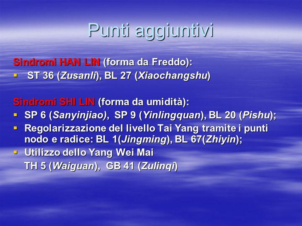 Punti aggiuntivi Sindromi HAN LIN (forma da Freddo):  ST 36 (Zusanli), BL 27 (Xiaochangshu) Sindromi SHI LIN (forma da umidità):  SP 6 (Sanyinjiao),