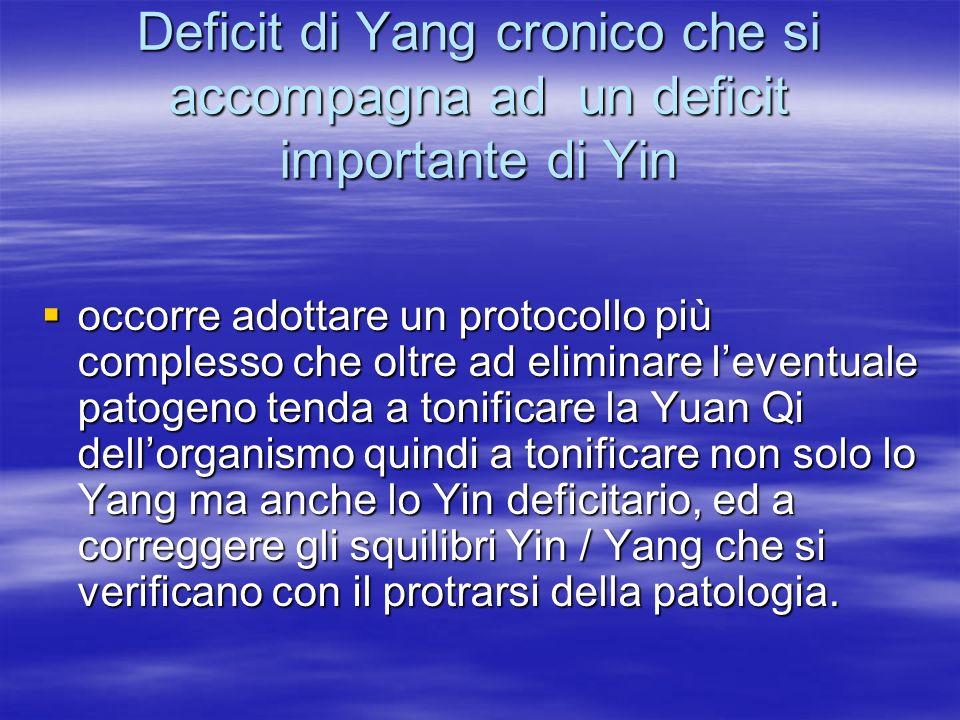Deficit di Yang cronico che si accompagna ad un deficit importante di Yin  occorre adottare un protocollo più complesso che oltre ad eliminare l'even