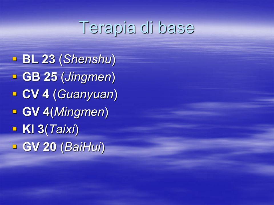 Terapia di base  BL 23 (Shenshu)  GB 25 (Jingmen)  CV 4 (Guanyuan)  GV 4(Mingmen)  KI 3(Taixi)  GV 20 (BaiHui)