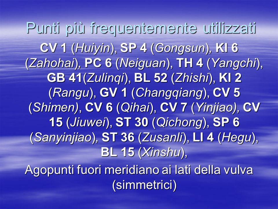 Punti più frequentemente utilizzati Punti più frequentemente utilizzati CV 1 (Huiyin), SP 4 (Gongsun), KI 6 (Zahohai), PC 6 (Neiguan), TH 4 (Yangchi),