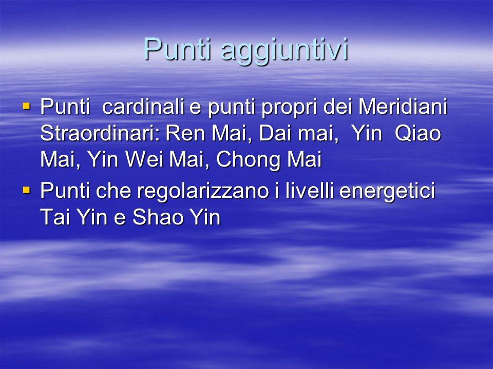 Punti aggiuntivi  Punti cardinali e punti propri dei Meridiani Straordinari: Ren Mai, Dai mai, Yin Qiao Mai, Yin Wei Mai, Chong Mai  Punti che regol