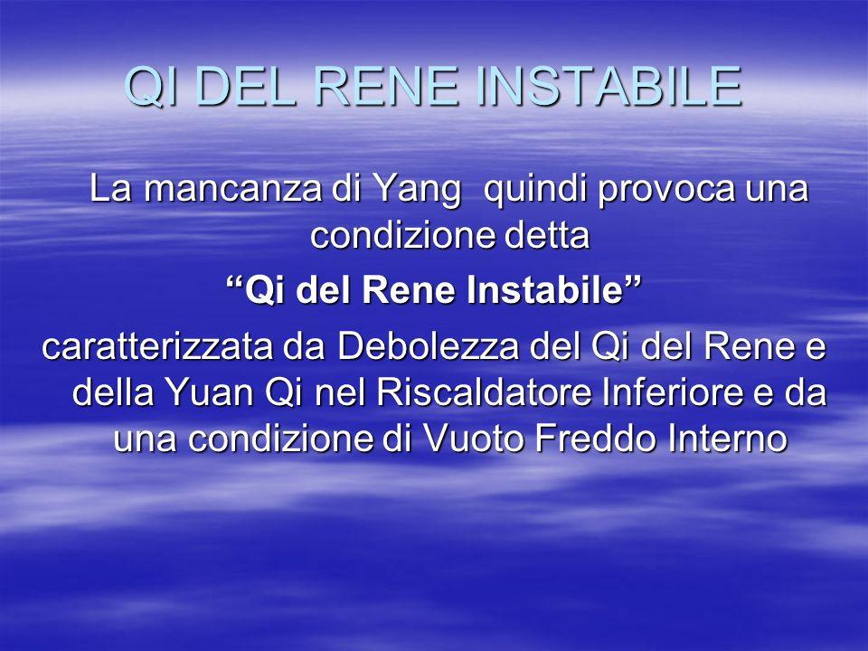 """QI DEL RENE INSTABILE La mancanza di Yang quindi provoca una condizione detta La mancanza di Yang quindi provoca una condizione detta """"Qi del Rene Ins"""