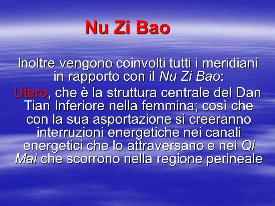 BAO MAI  In particolare si creerà un'alterazione del Bao Mai (vaso che collega l'utero al cuore) determinando un'alterazione dell'Asse Acqua - Fuoco che si svilupperà a partire dalla formazione di Fuoco della Vescicola Biliare Il Nu Zi Bao infatti è una sorta di coppa in cui l'Acqua bolle sotto la diretta azione della GB ,e secondo l'accoppiamento dei Visceri Curiosi, l'asportazione dell'uno determinerà un eccesso nell'altro Il Nu Zi Bao infatti è una sorta di coppa in cui l'Acqua bolle sotto la diretta azione della GB ,e secondo l'accoppiamento dei Visceri Curiosi, l'asportazione dell'uno determinerà un eccesso nell'altro