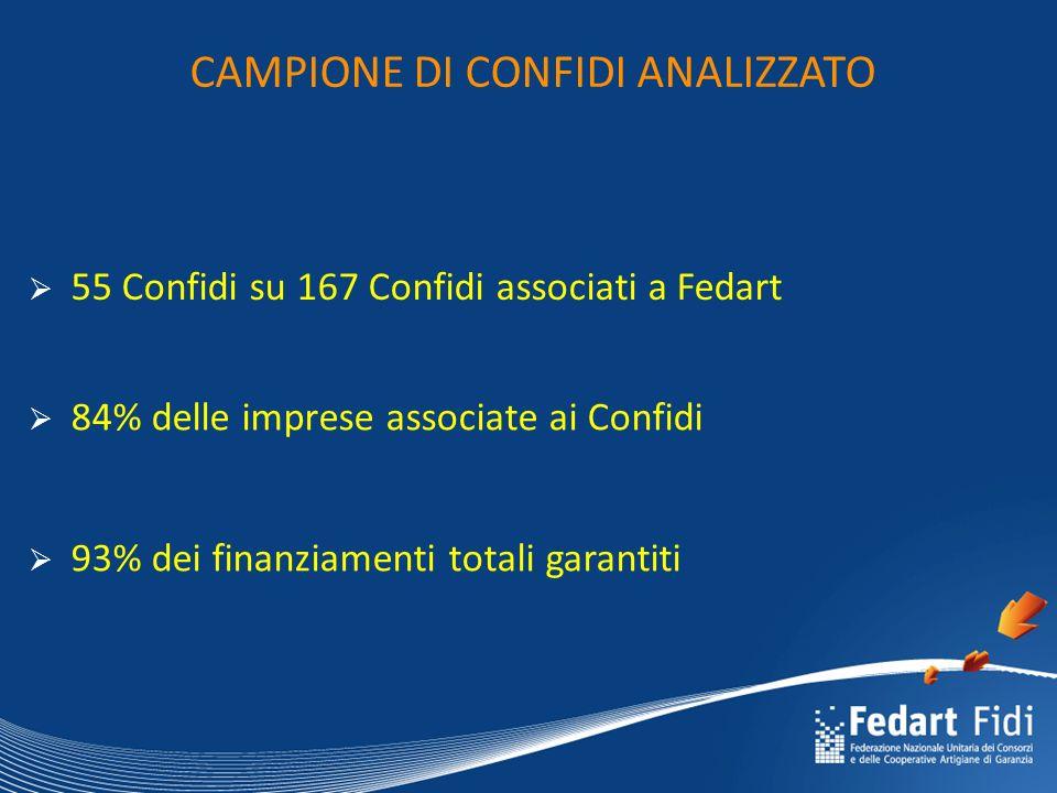 CAMPIONE DI CONFIDI ANALIZZATO  93% dei finanziamenti totali garantiti  84% delle imprese associate ai Confidi  55 Confidi su 167 Confidi associati a Fedart