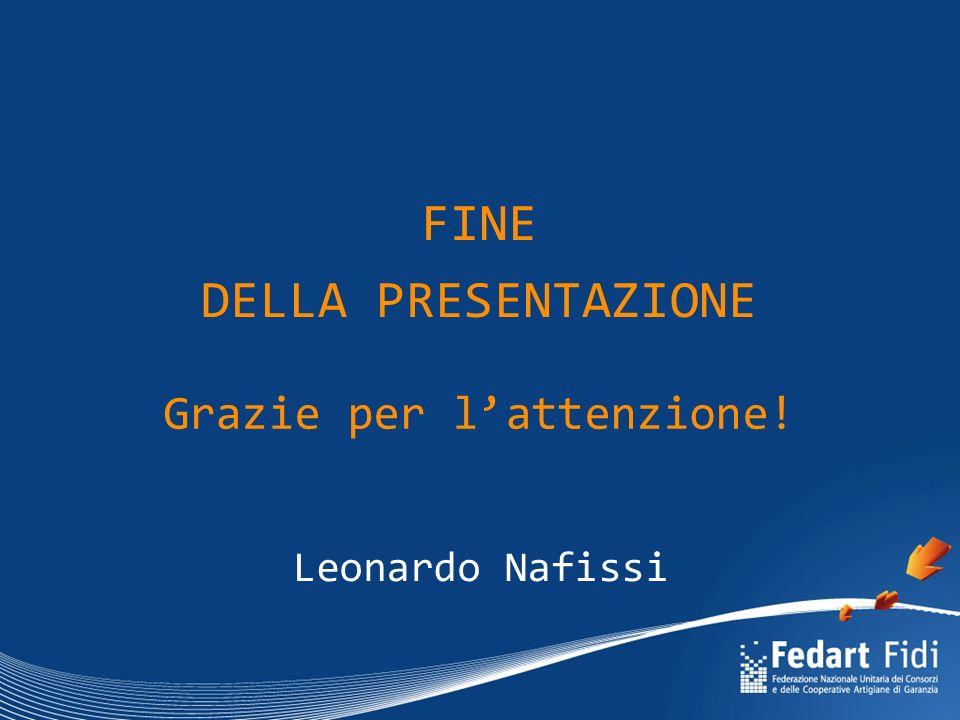 FINE DELLA PRESENTAZIONE Leonardo Nafissi Grazie per l'attenzione!