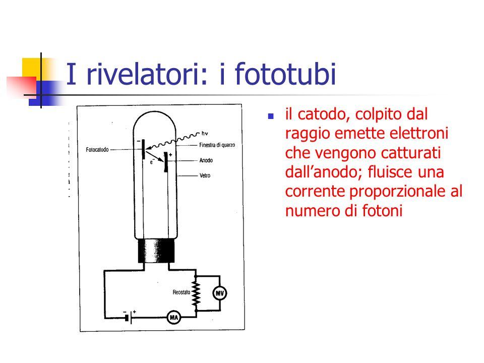I rivelatori: i fototubi il catodo, colpito dal raggio emette elettroni che vengono catturati dall'anodo; fluisce una corrente proporzionale al numero