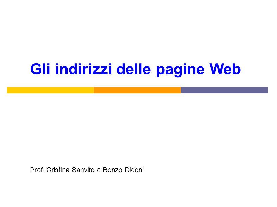 Gli indirizzi delle pagine Web Prof. Cristina Sanvito e Renzo Didoni