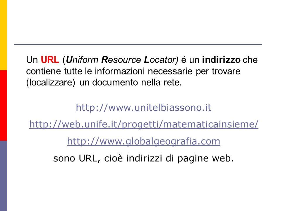 Un URL (Uniform Resource Locator) é un indirizzo che contiene tutte le informazioni necessarie per trovare (localizzare) un documento nella rete.