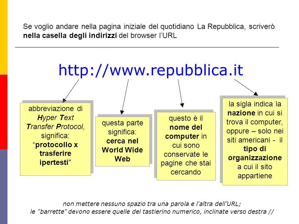 """http://www.repubblica.it abbreviazione di Hyper Text Transfer Protocol, significa: """"protocollo x trasferire ipertesti"""