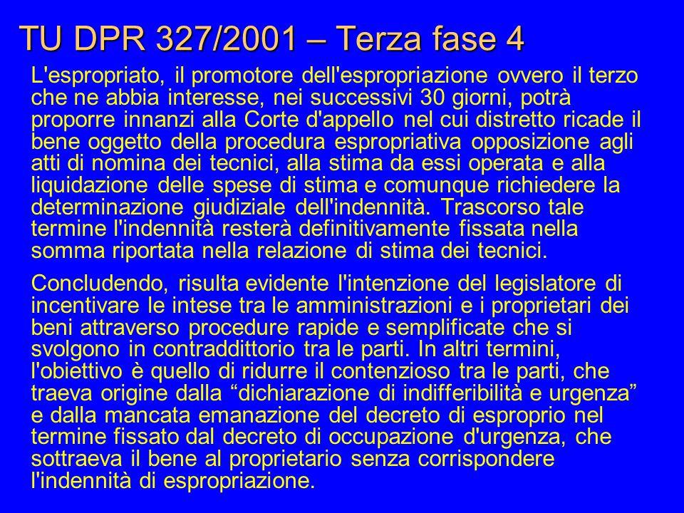 TU DPR 327/2001 – Terza fase 4 L'espropriato, il promotore dell'espropriazione ovvero il terzo che ne abbia interesse, nei successivi 30 giorni, potrà
