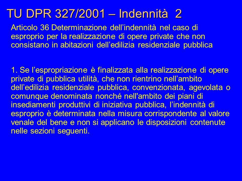 TU DPR 327/2001 – Indennità 2 Articolo 36 Determinazione dell'indennità nel caso di esproprio per la realizzazione di opere private che non consistano