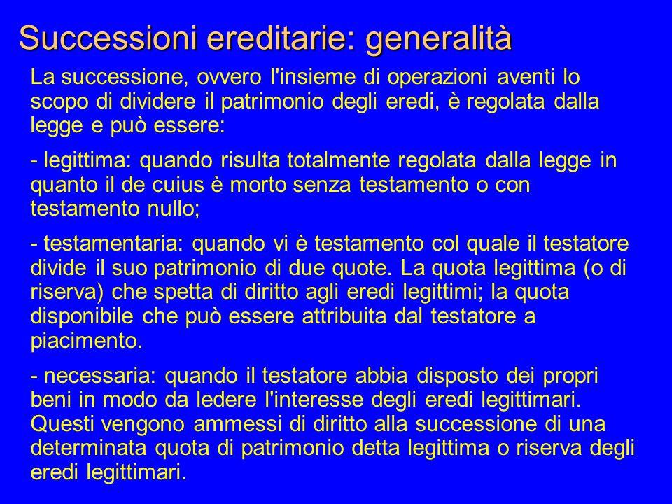 Successioni ereditarie: generalità La successione, ovvero l'insieme di operazioni aventi lo scopo di dividere il patrimonio degli eredi, è regolata da