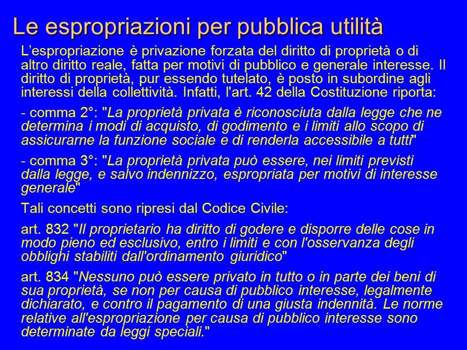 Le espropriazioni per pubblica utilità L'espropriazione è privazione forzata del diritto di proprietà o di altro diritto reale, fatta per motivi di pu