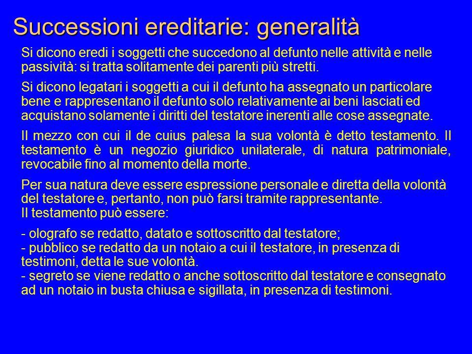 Successioni ereditarie: generalità Si dicono eredi i soggetti che succedono al defunto nelle attività e nelle passività: si tratta solitamente dei par