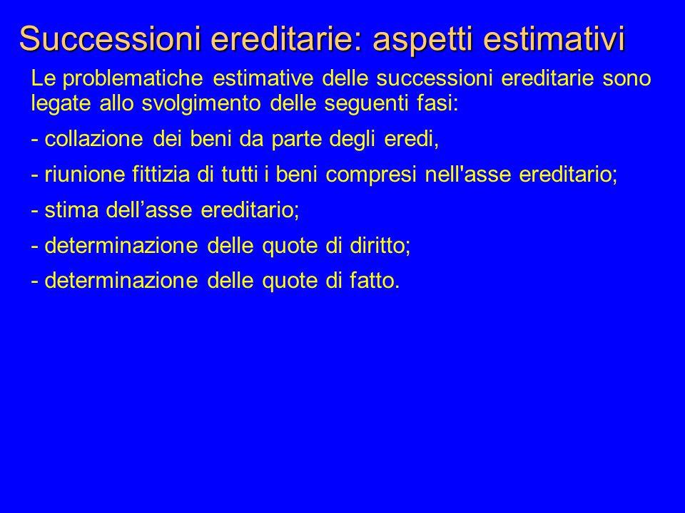 Successioni ereditarie: aspetti estimativi Le problematiche estimative delle successioni ereditarie sono legate allo svolgimento delle seguenti fasi: