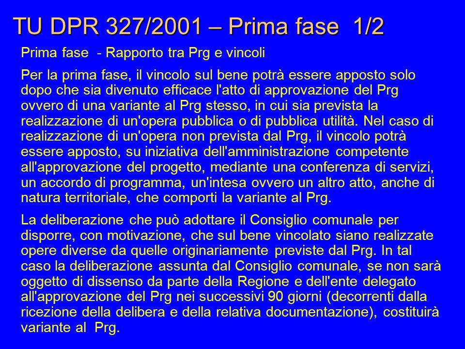 TU DPR 327/2001 – Prima fase 1/2 Prima fase - Rapporto tra Prg e vincoli Per la prima fase, il vincolo sul bene potrà essere apposto solo dopo che sia