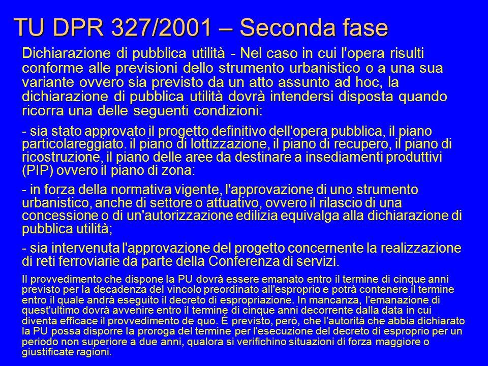 TU DPR 327/2001 – Seconda fase Dichiarazione di pubblica utilità - Nel caso in cui l'opera risulti conforme alle previsioni dello strumento urbanistic
