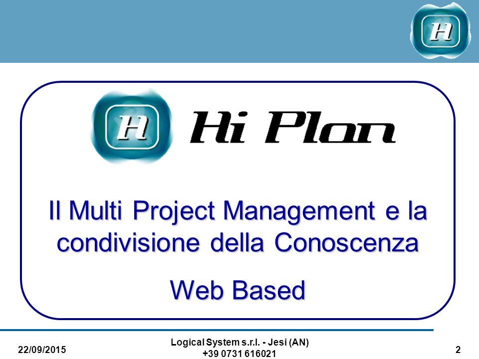 22/09/2015 Logical System s.r.l. - Jesi (AN) +39 0731 616021 2 Il Multi Project Management e la condivisione della Conoscenza Web Based
